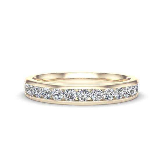 14K Gold Diamond (0.45 Ct, G-H Color, I1-I2 Clarity) Channel Set Wedding Band