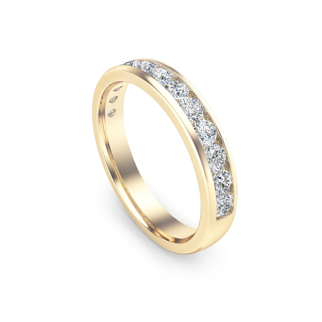 14K Gold Diamond (0.65 Ct, G-H Color, I1-I2 Clarity) Channel Set Wedding Band