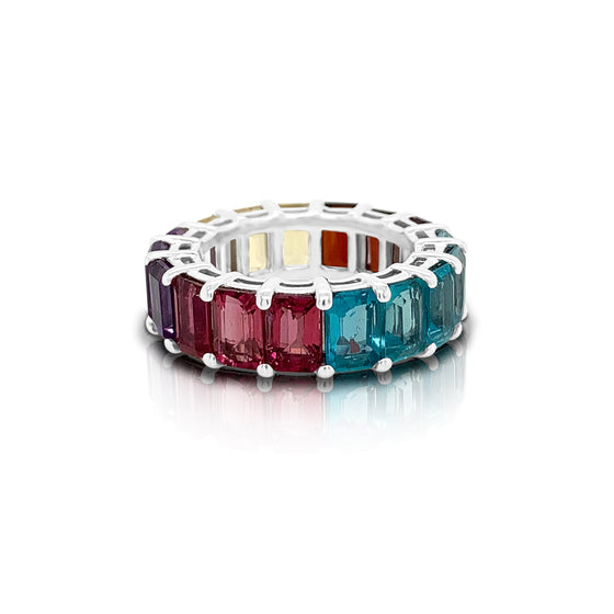 14K Gold Rainbow Multicolor Gemstone (6X4MM) Eternity Ring