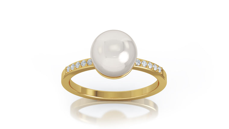 14K Gold 8MM Pearl & Diamond Ring (0.08 Ct, G-H Color, SI2-I1 Clarity)