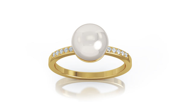 14K Gold 7MM Pearl & Diamond Ring (0.08 Ct, G-H Color, SI2-I1 Clarity)