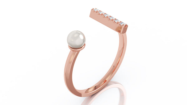 14K Gold 4.5MM Pearl & Diamond Bar Ring (0.08 Ct, G-H Color, SI2-I1 Clarity)