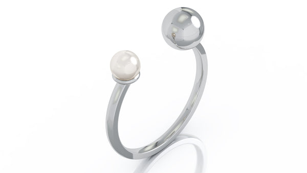 14K Gold 4.5MM Pearl & Gold Ball Ring