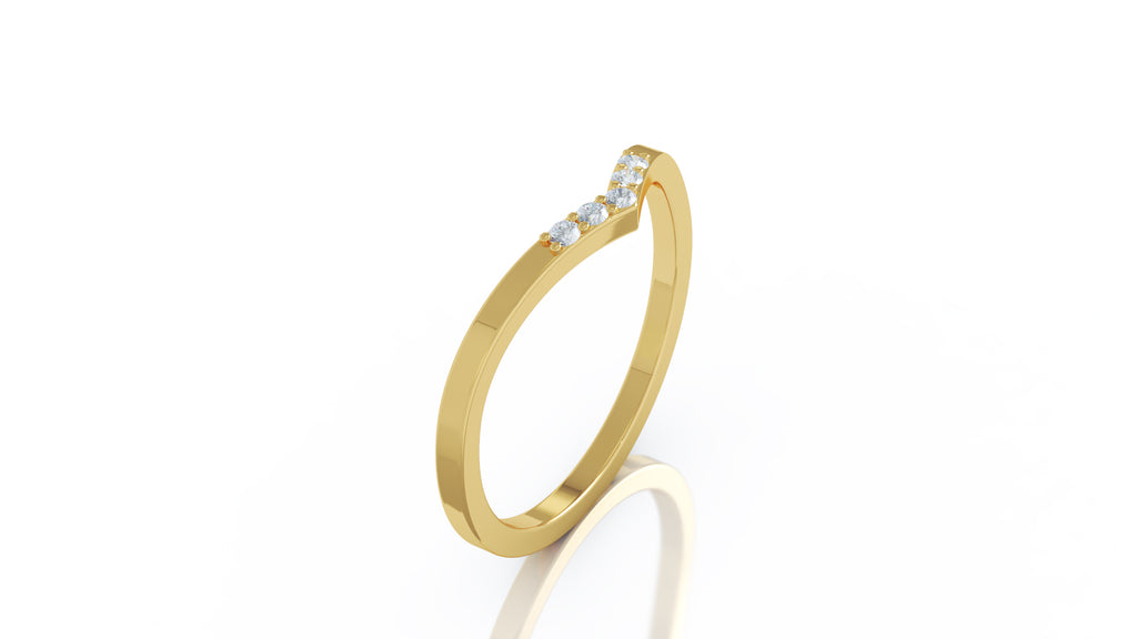 14K Gold Curved Stackable Ring (0.06 Ct, G-H Color, SI2-I1)