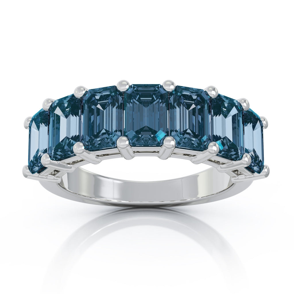 Sterling Silver 6x4MM Emerald Cut Blue Topaz Gemstone Ring