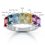 Sterling Silver 6x4MM Emerald Cut Rainbow Gemstone Ring