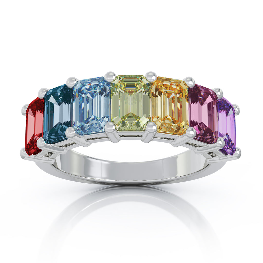14K Gold 6x4MM Emerald Cut Rainbow Gemstone Ring