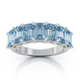14K Gold 6x4MM Emerald Cut Blue Topaz Gemstone Ring