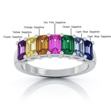 14K Gold 5x3MM Emerald Cut Rainbow Multi-Sapphire Ring