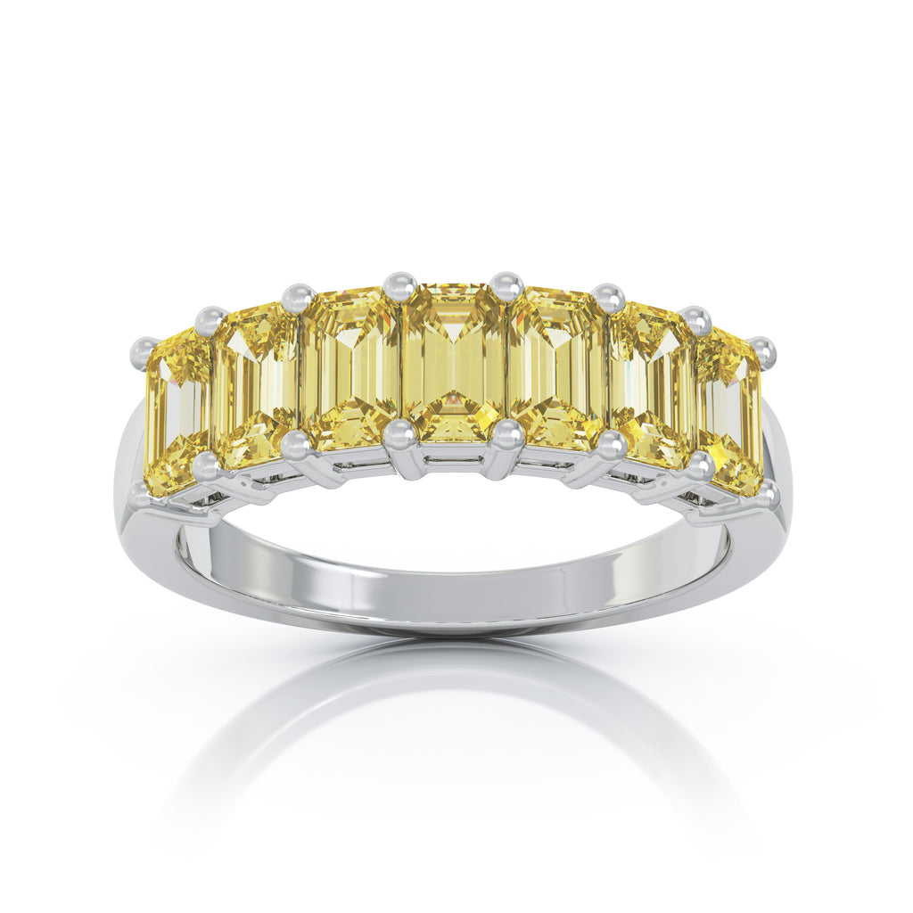 14K Gold 5x3MM Emerald Cut Multi-Sapphire Ring