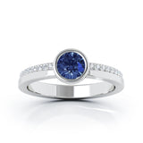 14K Gold Bezel 5MM Blue Sapphire & Diamond Ring (0.15 Ct, G-H, SI2-I1)