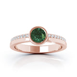 14K Gold Bezel 5MM Green Tourmaline & Diamond Ring (0.15 Ct, G-H, SI2-I1)