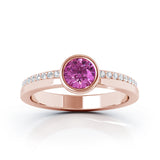 14K Gold Bezel 5MM Pink Sapphire & Diamond Ring (0.15 Ct, G-H, SI2-I1)