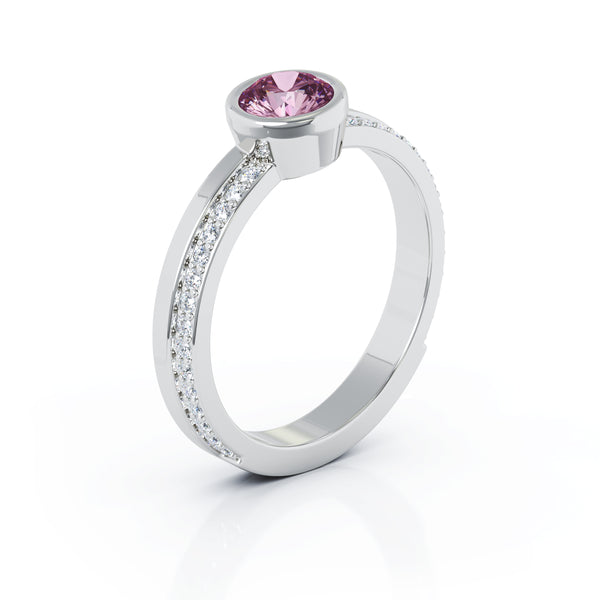 14K Gold Bezel 5MM Pink Tourmaline & Diamond Ring (0.15 Ct, G-H, SI2-I1)