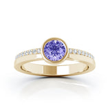 14K Gold Bezel 5MM Tanzanite & Diamond Ring (0.15 Ct, G-H, SI2-I1)