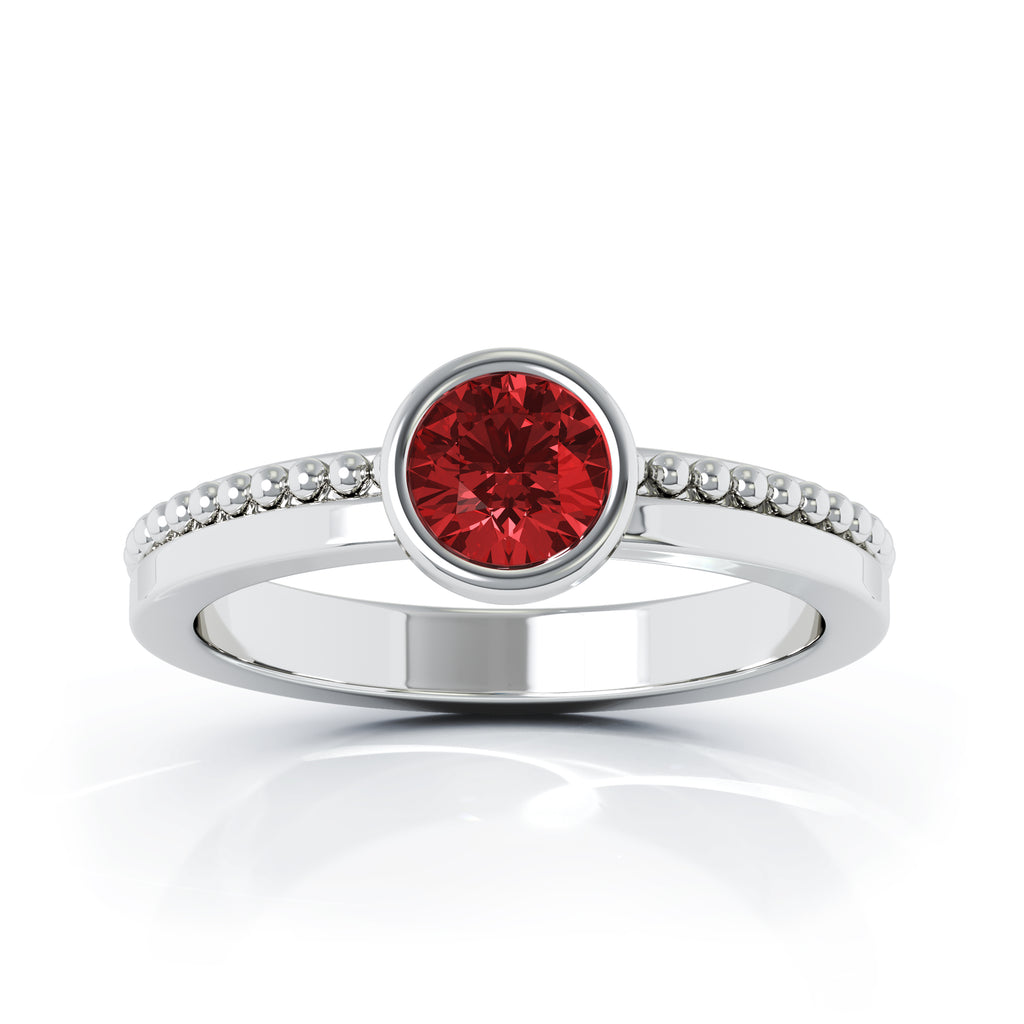 14K Gold Bezel 5MM Garnet Bead Style Ring