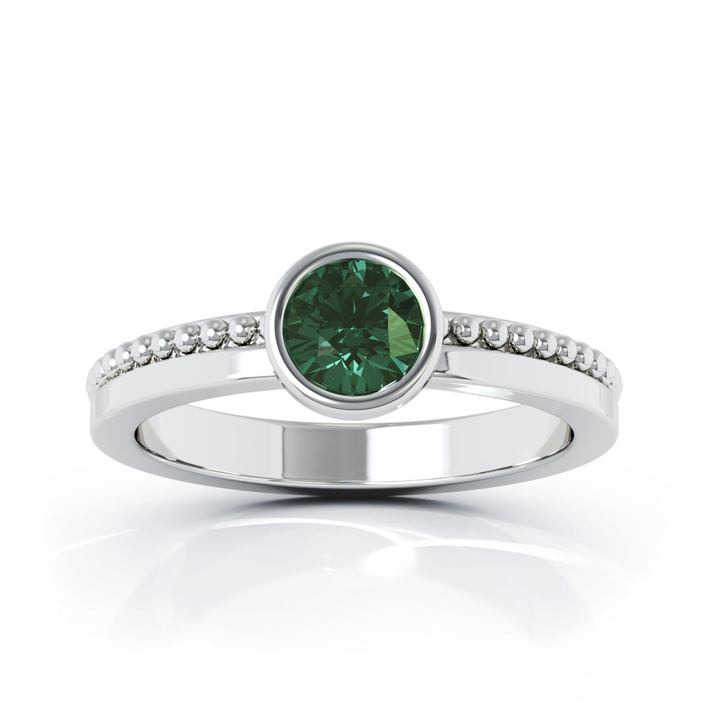 14K Gold Bezel 5MM Green Tourmaline Bead Style Ring