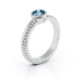 14K Gold Bezel 5MM London Blue Topaz Bead Style Ring
