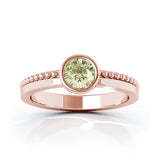 14K Gold Bezel 5MM Peridot Bead Style Ring
