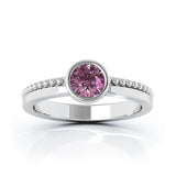 14K Gold Bezel 5MM Pink Tourmaline Bead Style Ring