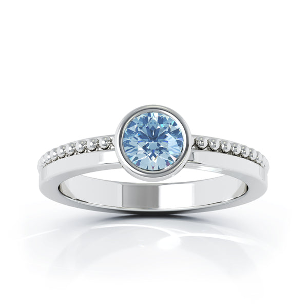 14K Gold Bezel 5MM Swiss Blue Topaz Bead Style Ring