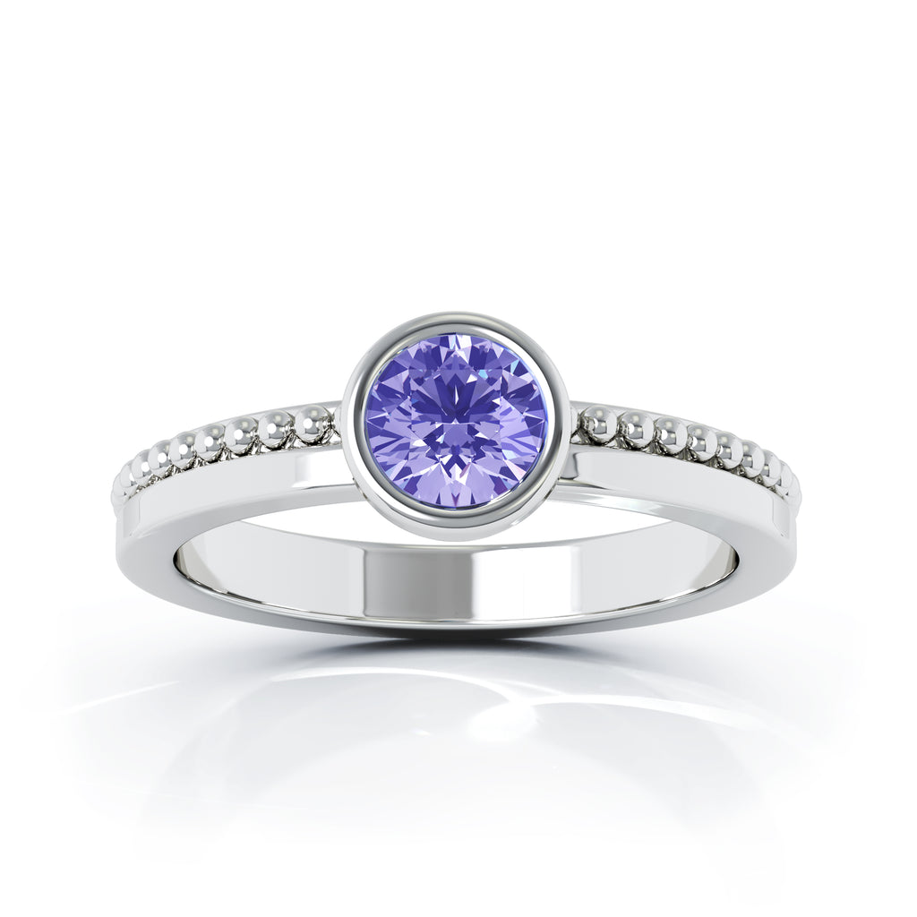 14K Gold Bezel 5MM Tanzanite Bead Style Ring