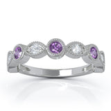 14K Gold Amethyst & Diamond (0.12 Ct, G-H Color, SI2-I1 Clarity) Milligrain Wedding Band