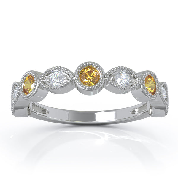14K Gold Citrine & Diamond (0.12 Ct, G-H Color, SI2-I1 Clarity) Milligrain Wedding Band