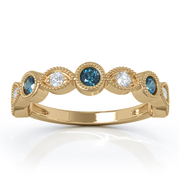 14K Gold London Blue Topaz & Diamond (0.12 Ct, G-H Color, SI2-I1 Clarity) Milligrain Wedding Band