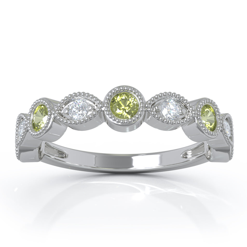 14K Gold Peridot & Diamond (0.12 Ct, G-H Color, SI2-I1 Clarity) Milligrain Wedding Band