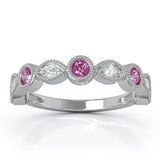 14K Gold Pink Sapphire & Diamond (0.12 Ct, G-H Color, SI2-I1 Clarity) Milligrain Wedding Band