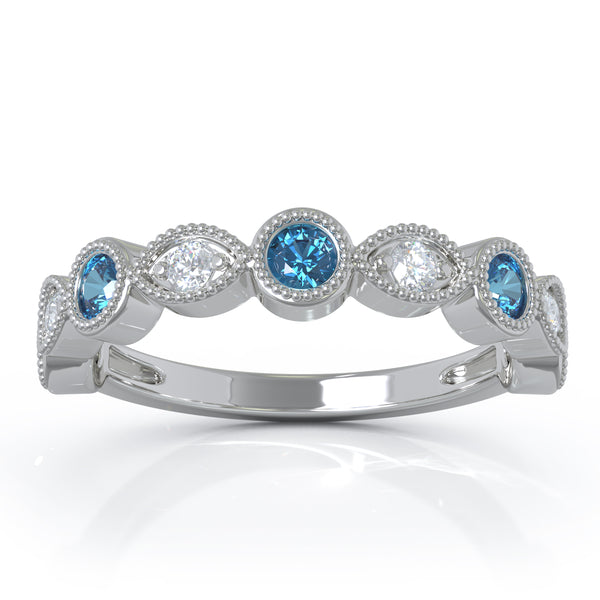 14K Gold Swiss Blue Topaz & Diamond (0.12 Ct, G-H Color, SI2-I1 Clarity) Milligrain Wedding Band