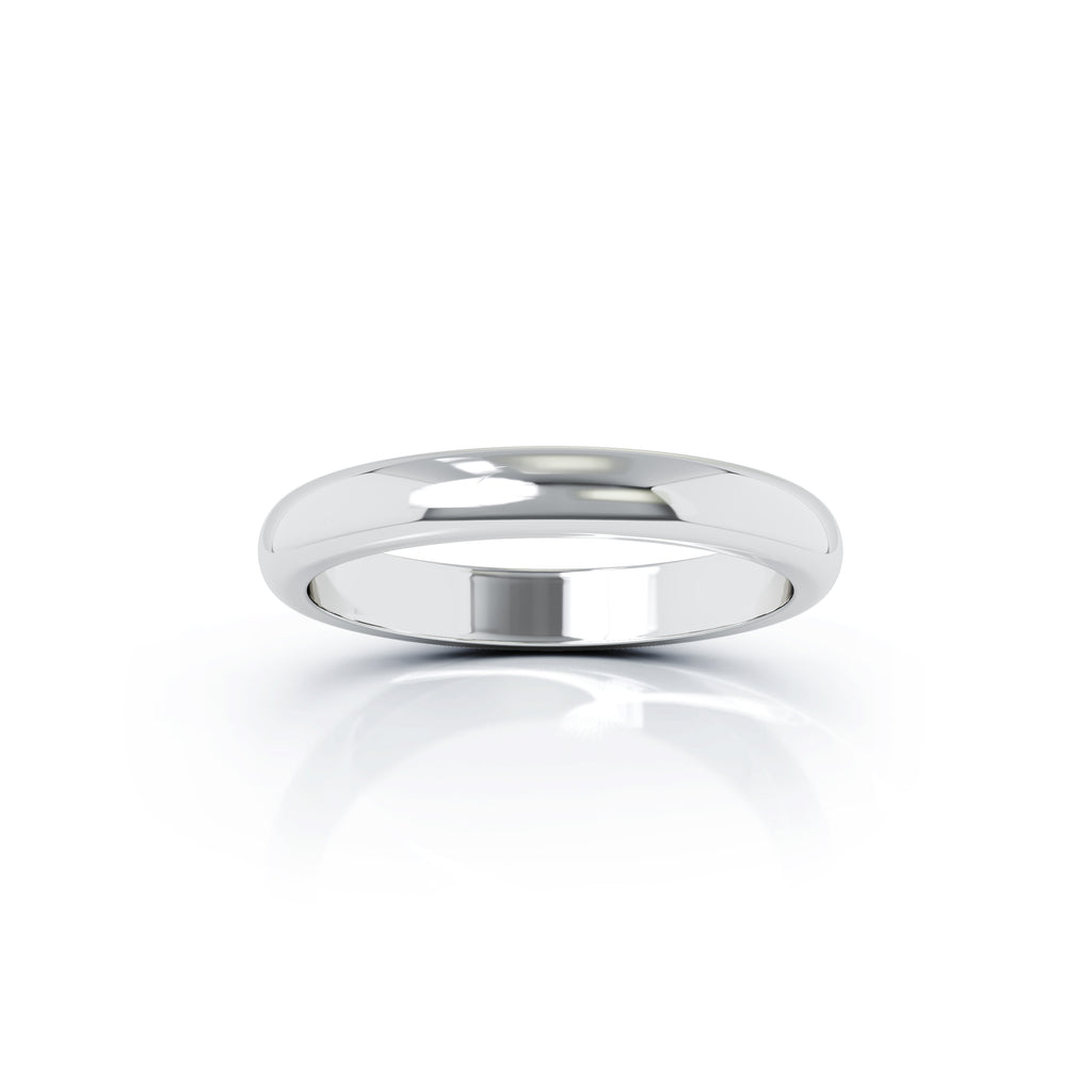 Sterling Silver Domed Profile 3MM High Polished Wedding Band