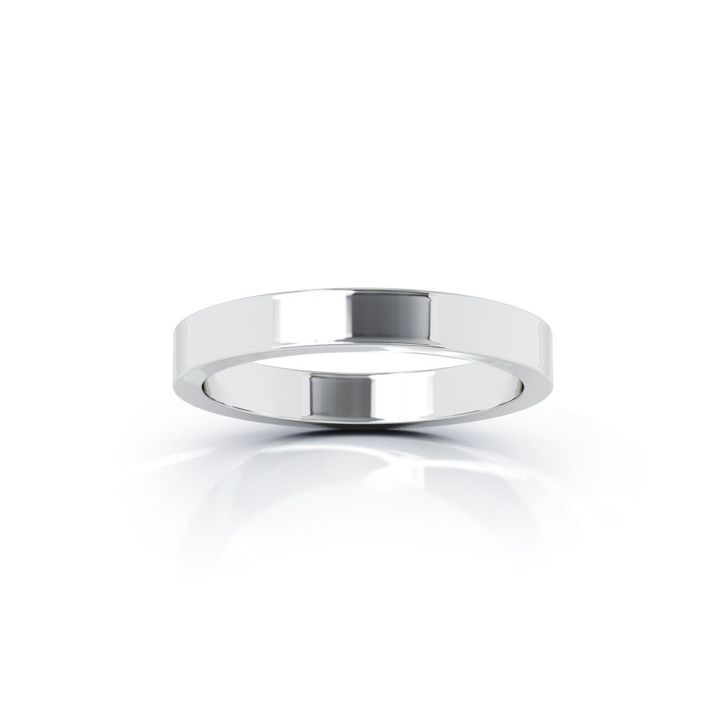 Sterling Silver Square Profile 3MM High Polished Wedding Band