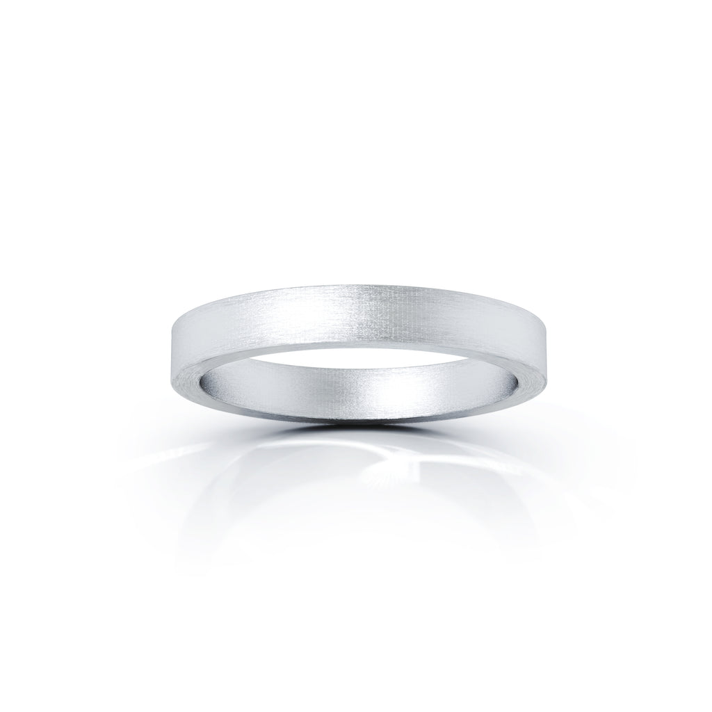 Platinum Square Profile 3MM Matte Finish Wedding Band