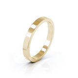 14K Gold Square Profile 3MM High Polished Wedding Band