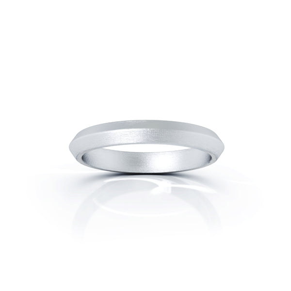Platinum Triangle Profile 3MM Matte Finish Wedding Band