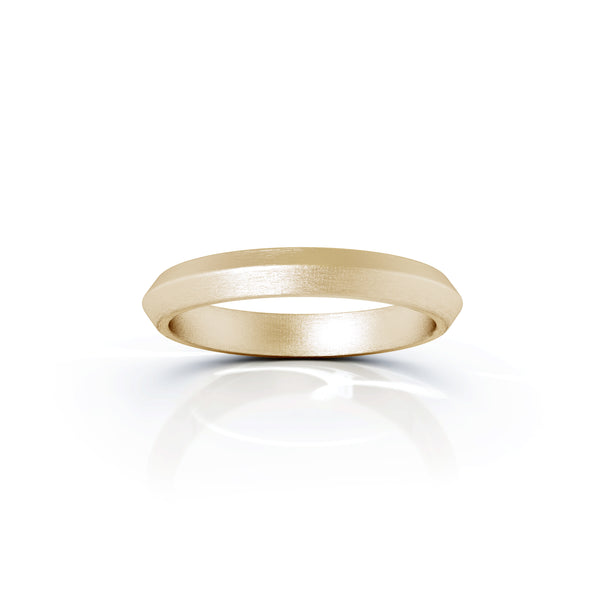 18K Gold Triangle Profile 3MM Matte Finish Wedding Band