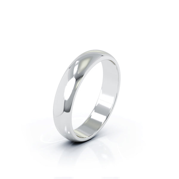 Sterling Silver Domed Profile 4.5MM High Polished Wedding Band