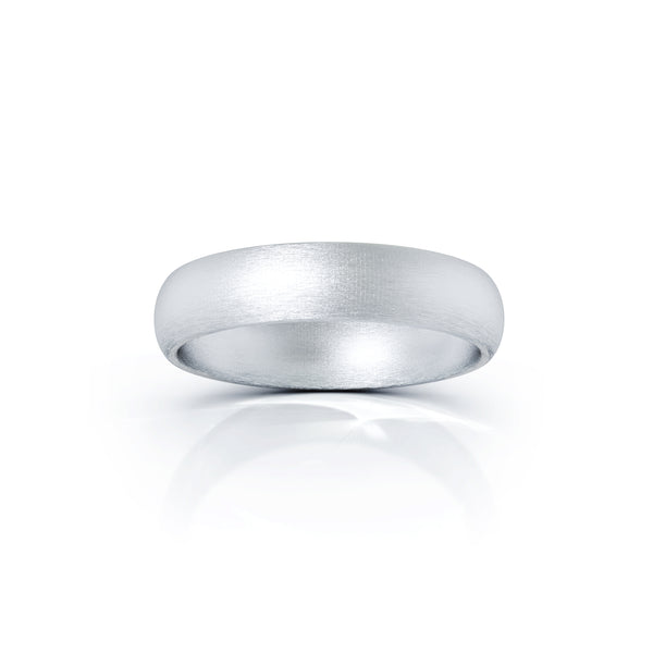 Sterling Silver Domed Profile 4.5MM Matte Finish Wedding Band
