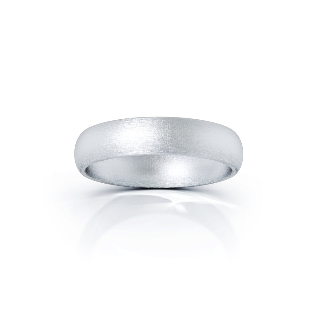 Platinum Domed Profile 4.5MM Matte Finish Wedding Band