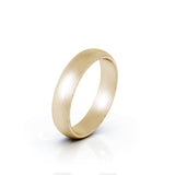18K Gold Domed Profile 4.5MM Matte Finish Wedding Band