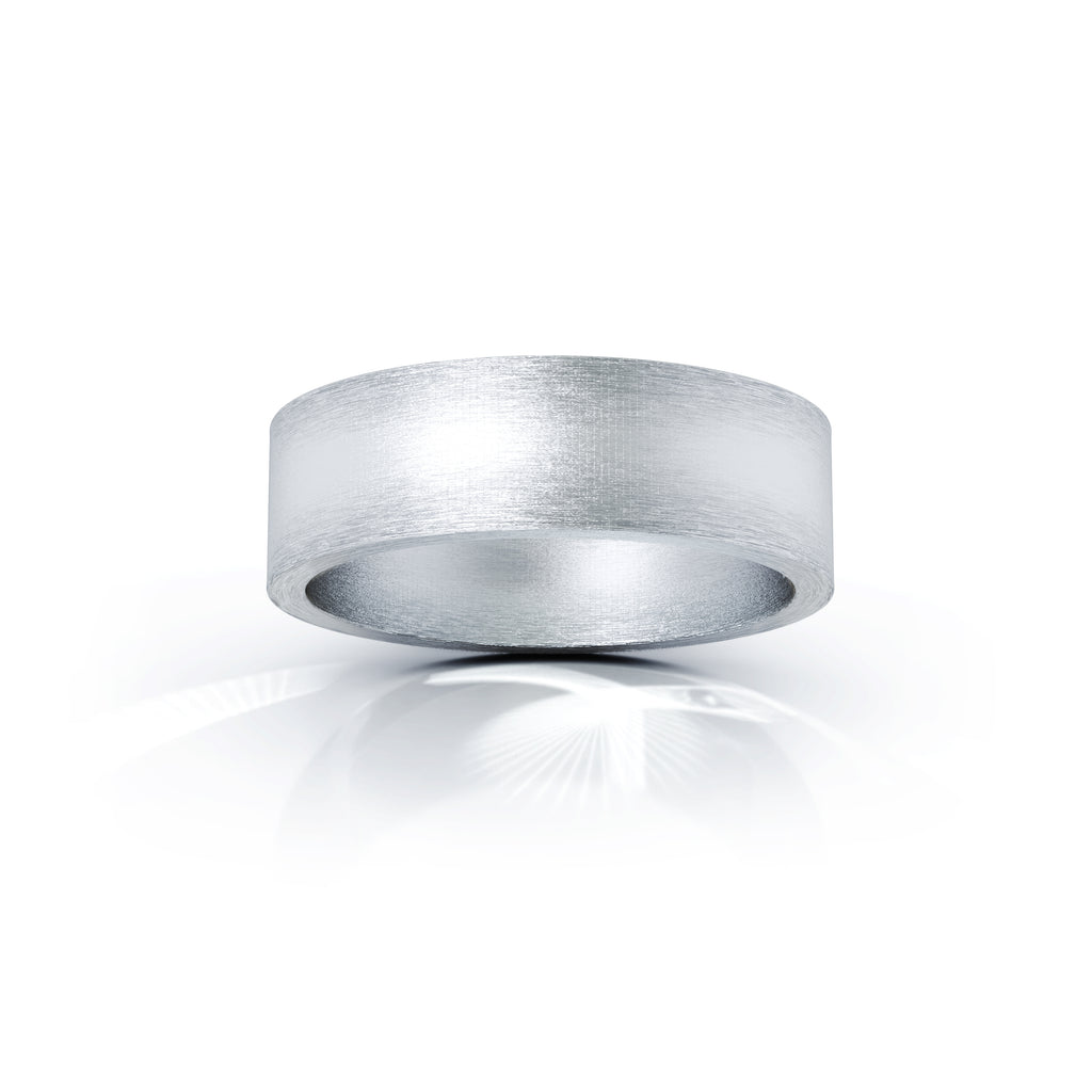 Sterling Silver Square Profile 6MM Matte Finish Wedding Band
