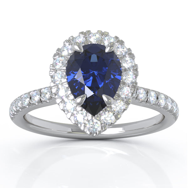 14K White Gold 7x5MM Blue Sapphire & Diamond Ring (0.34 Ct, G-H Color, I1-I2 Clarity)