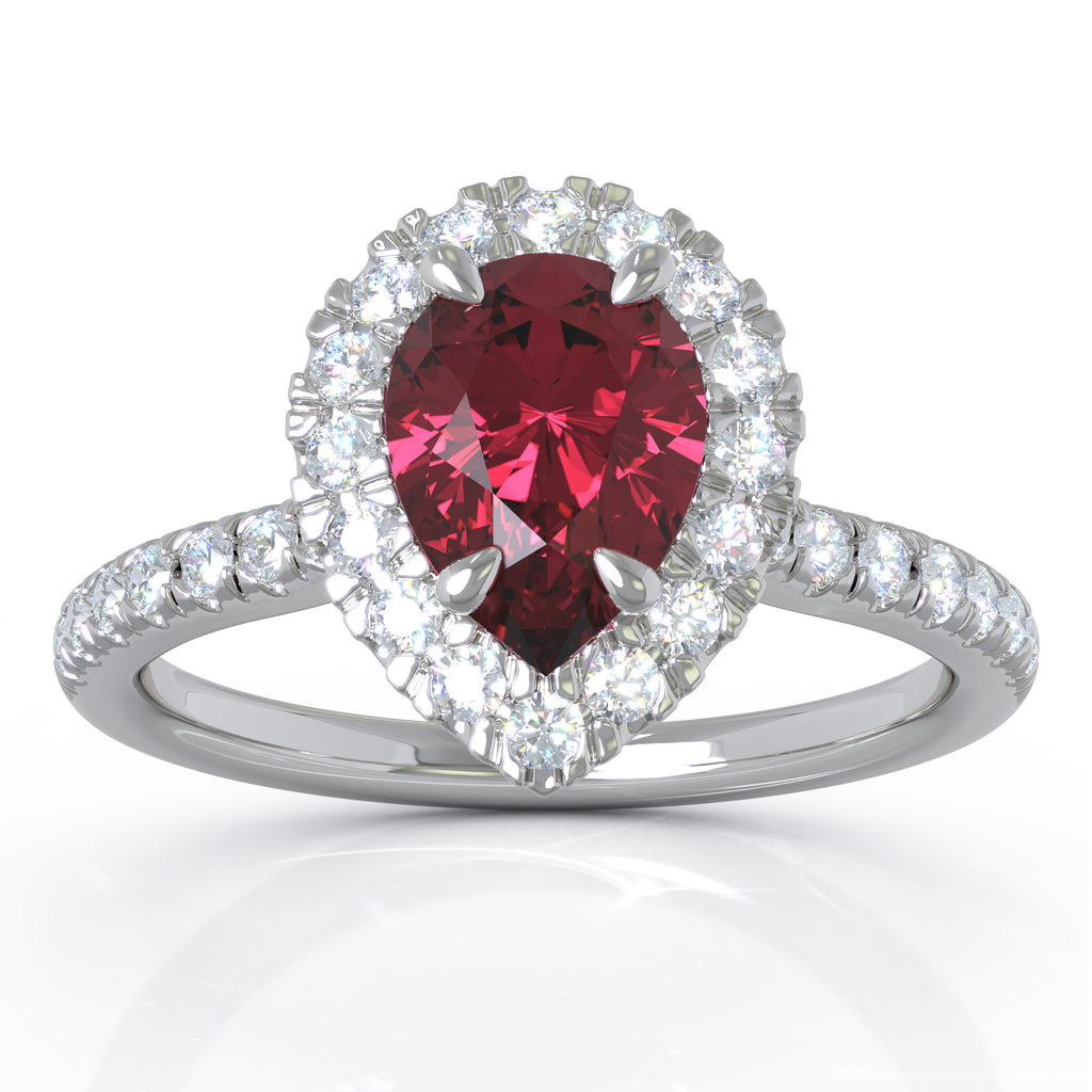 14K White Gold 7x5MM Ruby & Diamond Ring (0.34 Ct, G-H Color, I1-I2 Clarity)