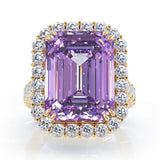 14K Gold Emerald Cut Amethyst & Diamond Ring (1.35 CT, G-H, SI2-I1)