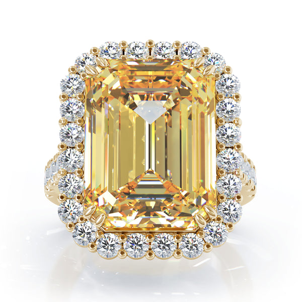 14K Gold Emerald Cut Citrine & Diamond Ring (1.35 CT, G-H, SI2-I1)