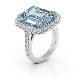 14K Gold Emerald Cut Blue Topaz & Diamond Ring (1.35 CT, G-H, SI2-I1)