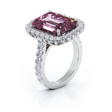 14K Gold Emerald Cut Pink Tourmaline & Diamond Ring (1.45 CT, G-H, SI2-I1)