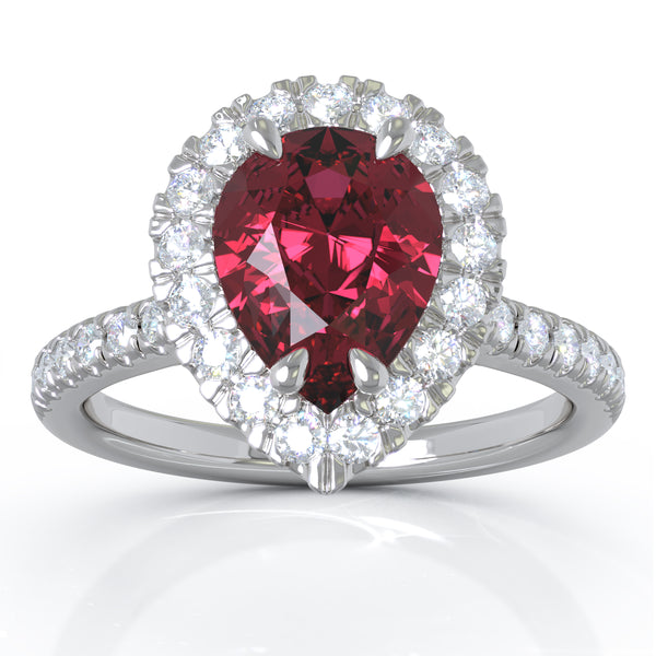 14K White Gold 8x6MM Ruby & Diamond Ring (0.35 Ct, G-H Color, I1-I2 Clarity)